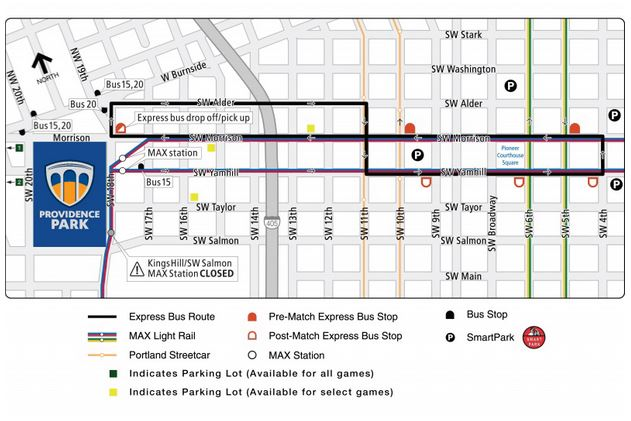 Providence Park Transit and Parking Map
