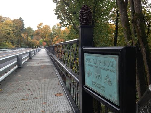 View of new bridge rail and plaque