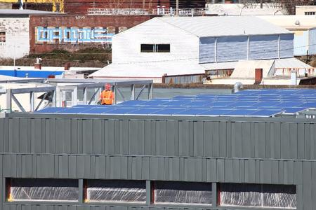 Installation of solar array on the new Interstate Shops and Stores Warehouse