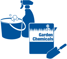 Graphic of cleaners and garden chemicals