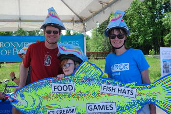 family with fish hats at Sunday Parkways