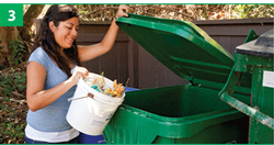 Woman putting food scraps into roll cart
