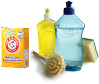 Baking soda, bottle brush, dish soap