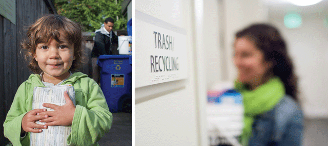 Child holding recycling; woman holding recycling