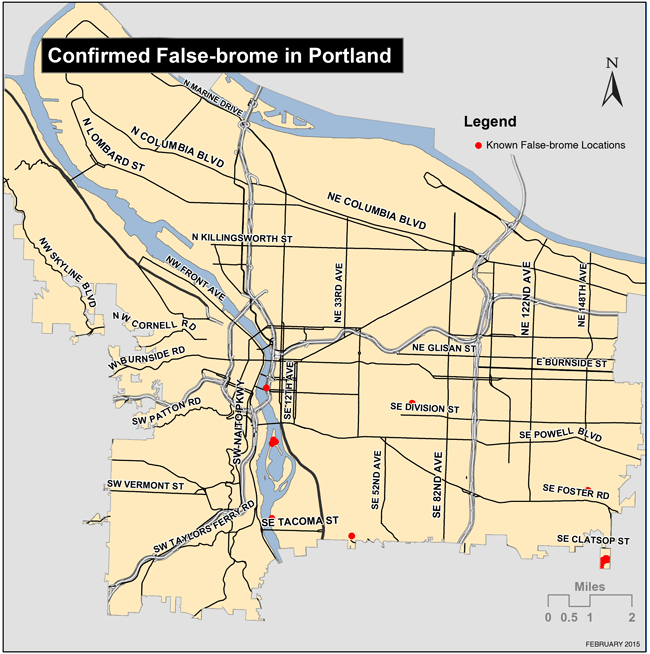 Map of confirmed false-brome locations in Portland