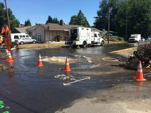 Water main break in N Portland