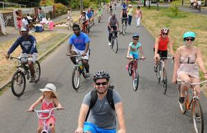 Happy riders on Sunday Parkways