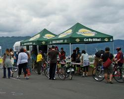 Bike Gallery's bike repair tent on Willamette Bluff