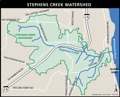 Stephens Creek Watershed map
