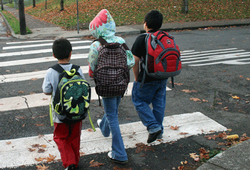 Three boys walking