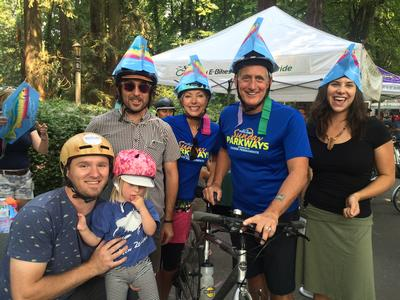 people wearing fish hats at Sunday Parkways