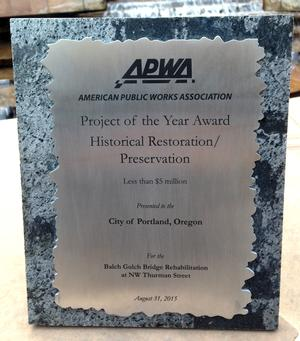 APWA Public Works Project of the Year Award 2015