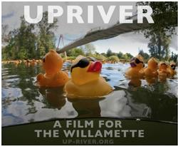 Upriver poster photo of ducks in river