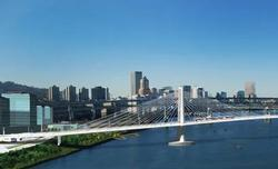 Tilikum Crossing bridge and Willamette River
