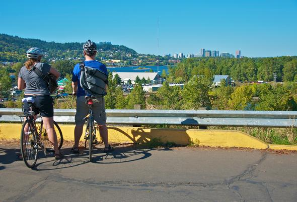 Sunday Parkways view of downtown from Sellwood