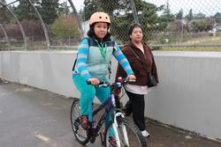 biking and walking over the bridge to Lent School