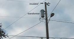 high-voltage wire with transformer and insulator
