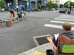 Volunteer counting people on bikes