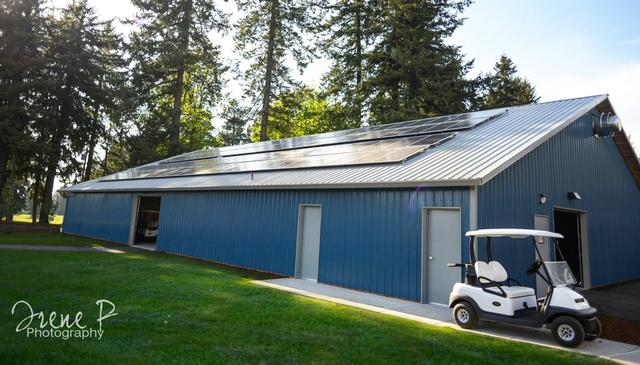 Solar panels on cart barn