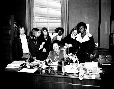 Connie McCready with a group in her office in 1973