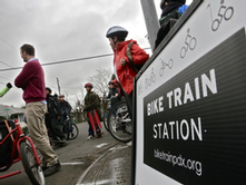 Students gather at a Bike Train meeting spot.