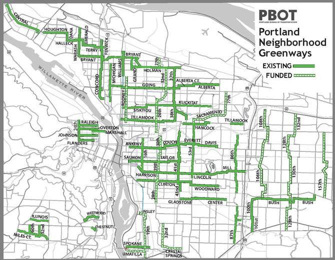 Neighborhood greenway map