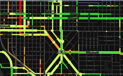 Map showing stress level of various bike routes