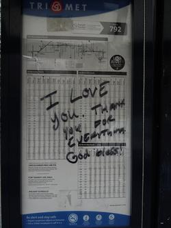 Love note to TriMet on bus stop schedule
