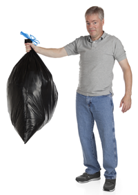 white dude holding garbage bag