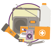 illustration of emergency preparedness items