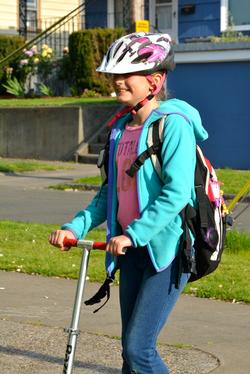 Scooting to school in North Portland. Photo by Steve Lanigan