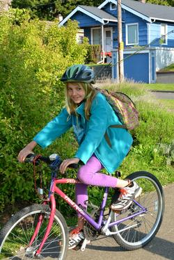 Riding to School during May.