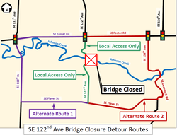 Detour Map for 122nd Avenue Bridge Closure