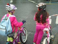 Students riding to school in SE Portland.