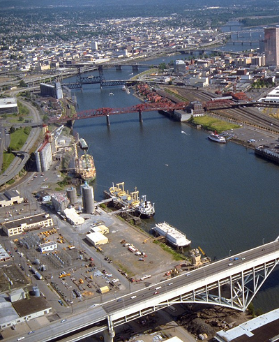 aerial view of Portland Harbor