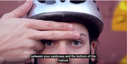Only two fingers should fit between your eyebrows and the bottom of helmet.