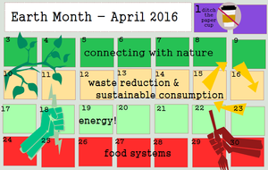 2016 Earth Month Calendar