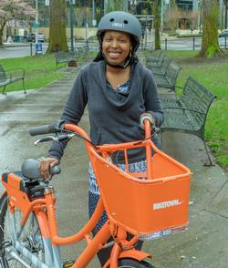 Happy rider with a BIKETOWN bike