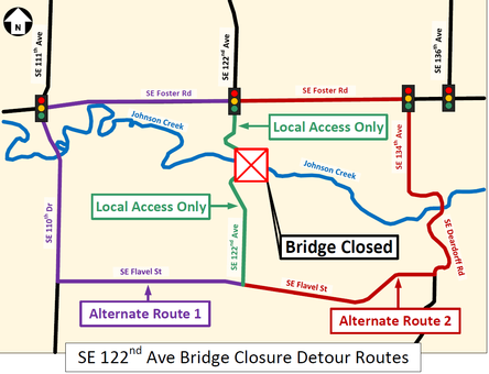 Map of 122nd Avenue detour routes