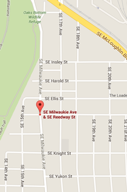 Map showing SE Milwaukie at SE Reedway St