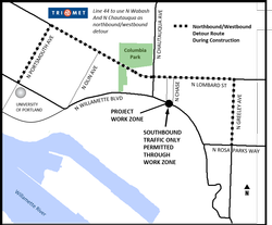 Detour route map for N Willamette Blvd