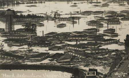 aerial view of 1948 Vanport Flood
