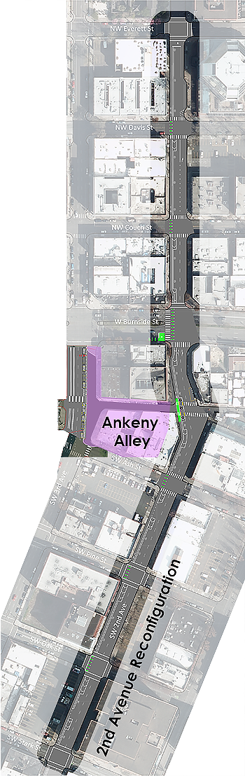 map of 2nd Avenue Reconfiguration Project