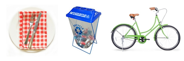 reusable dishware, recycling and directions by bike