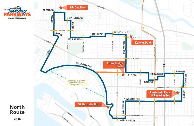 North Portland Sunday Parkways 2016 map