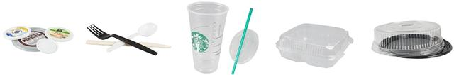 Plastic lids, cups, to-go containers and utensils