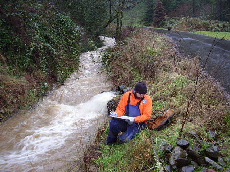 sampling at Saltzman Creek