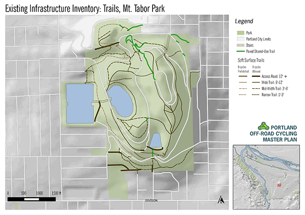 Mt Tabor Park Map Mt. Tabor Park | Existing Off road Cycling Trails and Facilities