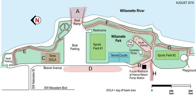 Map of Willamette Park construction