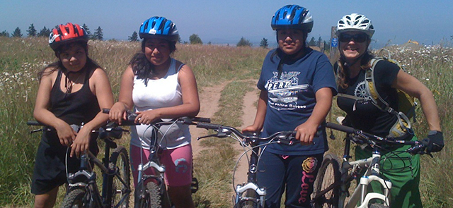 Young women at mountain bike camp